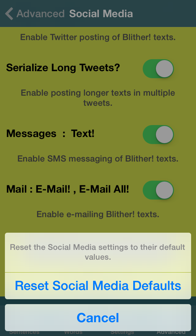 Blither! - Advanced - Social Media - Reset