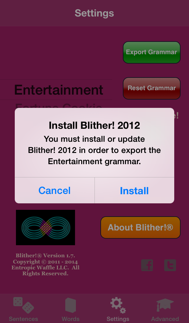 Blither! - Settings - Exporting