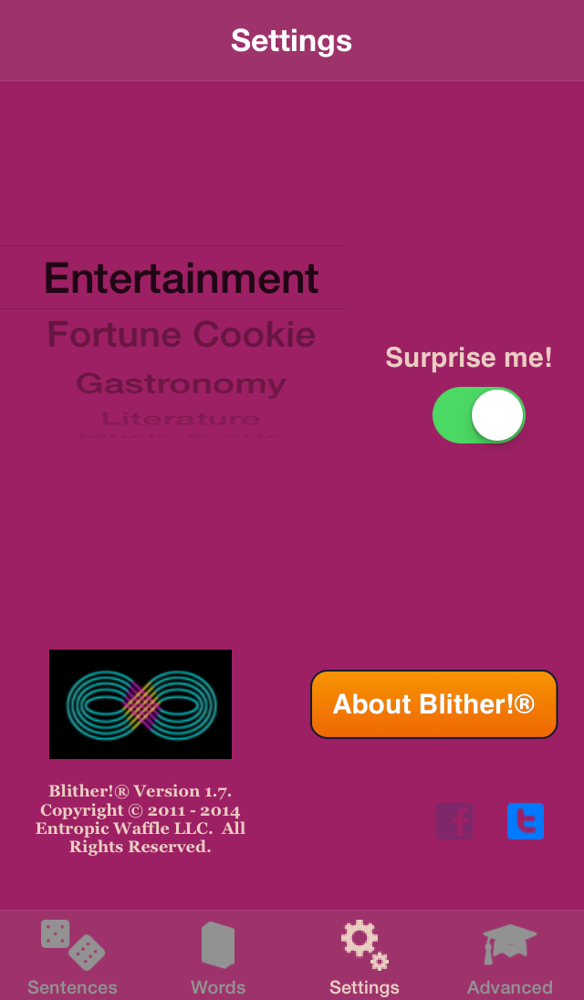 Blither! - Settings - Facebook Button