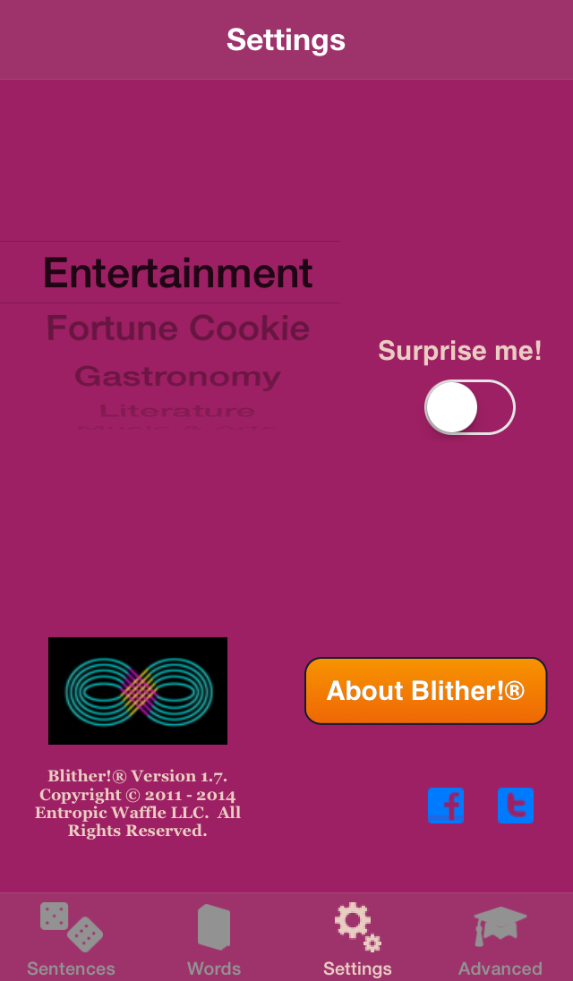 Blither! - Settings - Surprise Me! OFF