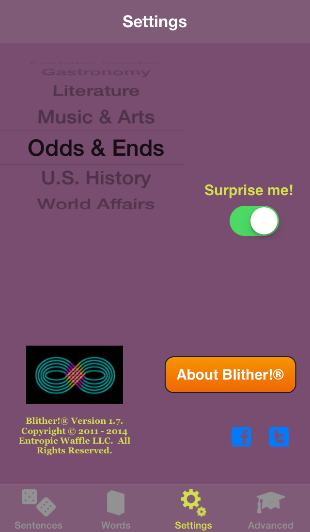 Blither! - Settings - Odds & Ends