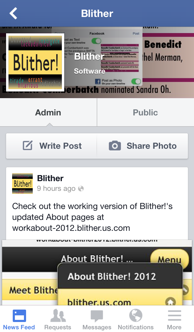 Facebook Blither Page