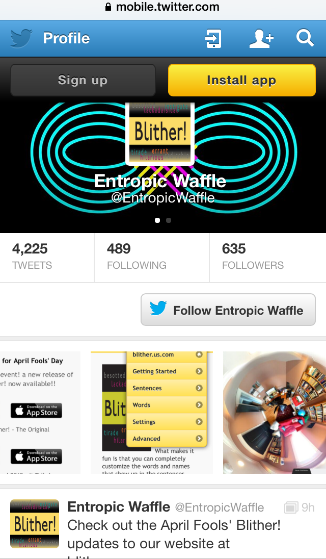 Twitter Entropic Waffle Page